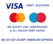 We accept Visa, Mastercard and all major Debit cards